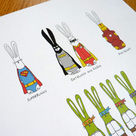 Superhero Bunnies - A4 print