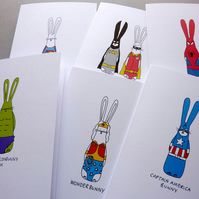 Superhero Bunnies - Pack of 6 cards