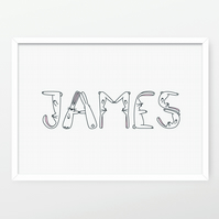 Personalised Hoppy Bunnies Name Print