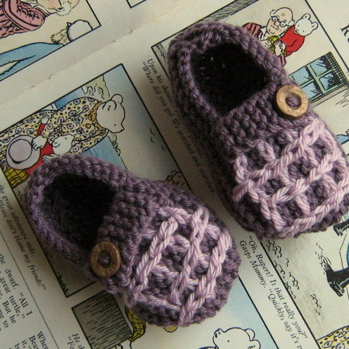 Grandpa Slippers, Hand Knitted to fit baby aged 0-3 months