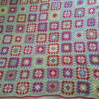 Crocheted Granny Square Throw