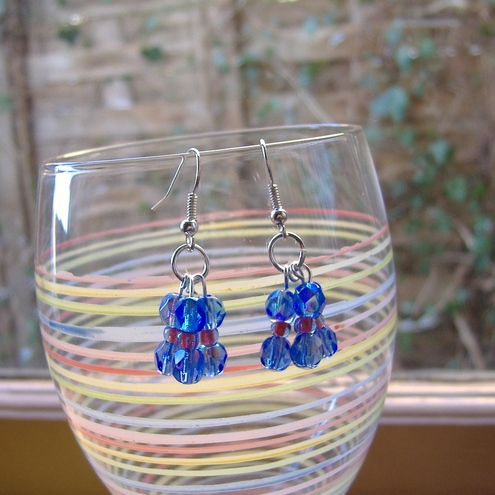 Sky blue Czech glass earrings