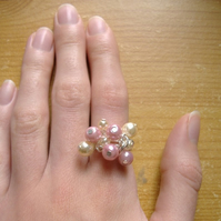 pink and champagne faux pearl ring
