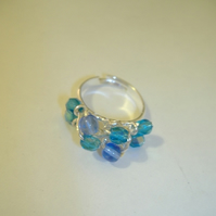 sparkly blue bead and wire ring