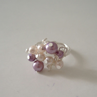 pink and purple beaded pearl ring