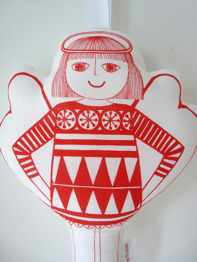 Scandinavian Christmas Toy Angel Decoration Jane Foster Screen Printed Cotton