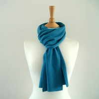 Teal Blue Knitted Cashmere Scarf