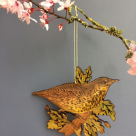 Thrush & Oak leaf hanging
