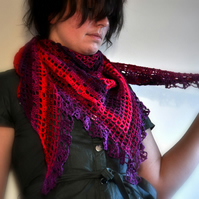 Triangular Gypsy Shawl in Plums and Berries