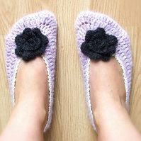 Lilac Crochet Slippers With A Rose