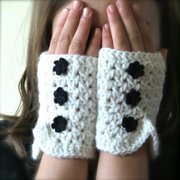RESERVED listing for thewig - Fingerless Crochet Mittens With A Flower