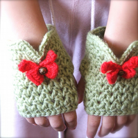 Short Fingerless Mittens With A Bow MADE TO ORDER