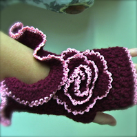 Burgundy Fingerless Crochet Gloves With A Flower READY TO SHIP
