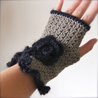 Fingerless Crochet Mittens With A Flower - reserved listing for thewig