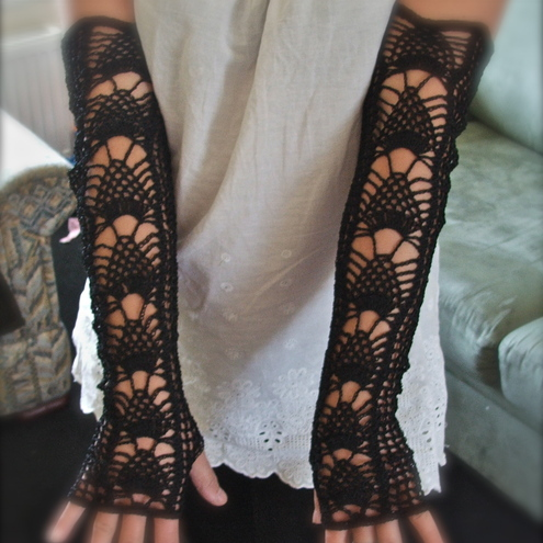 Long Crochet Opera Fingerless Gloves - MADE TO ORDER