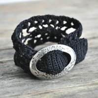 Lace Cuff with Vintage Buckle in Your Chosen Color - MADE TO ORDER