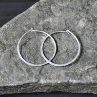 Handforged Silver Hoops