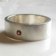 Solitaire garnet silver band, mate silver ring, wedding ring for men