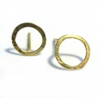 Open Circle Gold studs in 18K 18ct solid yellow gold, round halo earrings