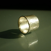 Large hammered silver band, wide sterling silver textured rustic ring 12mm wide,