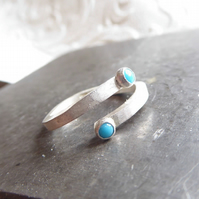 You and Me, brushed Sterling silver ring with 2 turquoise cabochon gemstones