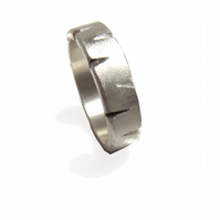 chiseled sterling silver wedding band