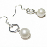 White freshwater Pearl drop Earrings in sterling silver - pearls bridal earrings