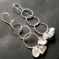 Meli Melo Rose Quartz Earrings and organic handmade sterling silver chain