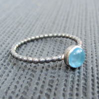 Mini sterling silver Blue Topaz cabochon stacking ring, minimalist jewelry, blue
