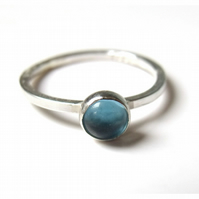 Mini sterling silver Stacking Ring with Blue Topaz cabochon , ready to ship, siz