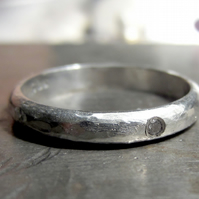 Textured wedding ring for men and women Sterling silver diamond rustic solitaire