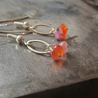 Pink Tourmaline and Orange Carnelian Drop Earrings in Sterling silver