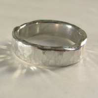 Rustic recycled silver hammered band 5mm