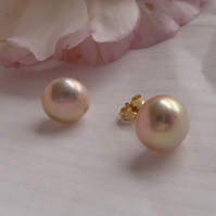 Blush Pink Freshwater Pearls stud earrings in 18 ct yellow gold