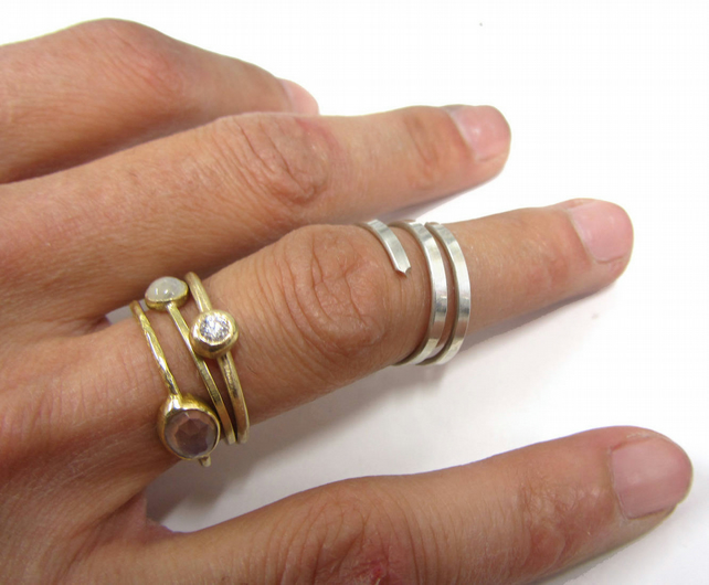 wraparound  sterling silver open ring