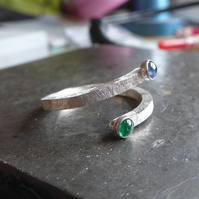 Blue Sapphire and Emerald sterling Silver crossover ring