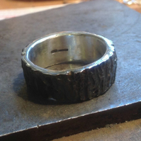 Sterling silver bark ring with Black oxidised finish