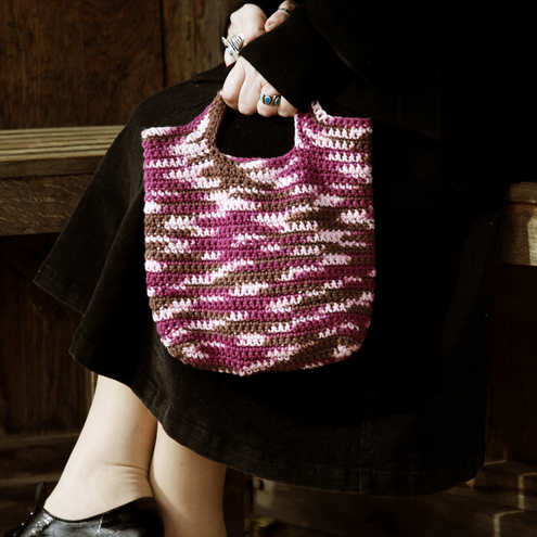Raspberry Truffle Crocheted Cotton Handbag by moody cow designs