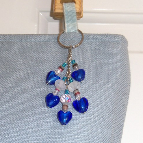 """Blue Hearts"" Beaded Bag Charm by moody cow designs"