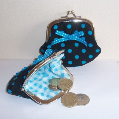 """ Ribbons and Bows"" Cute little coin purse by moody cow designs"