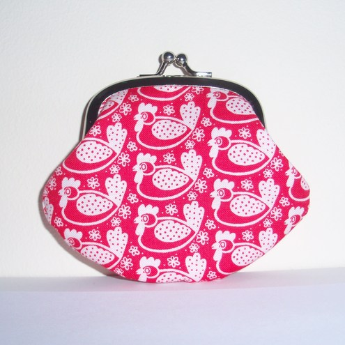 """Red Hens"" Cute Little Coin Purse by moody cow designs"