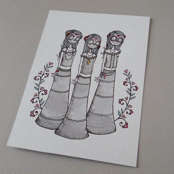 senoritas de los muertos trio - original illustration A6