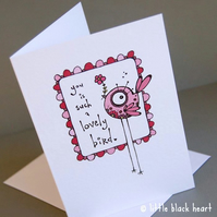 lovely bird - greetings card (red)