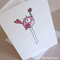 pink bird - greetings card