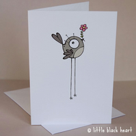 grey bird - greetings card