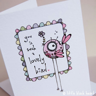 lovely bird - greetings card (pink)
