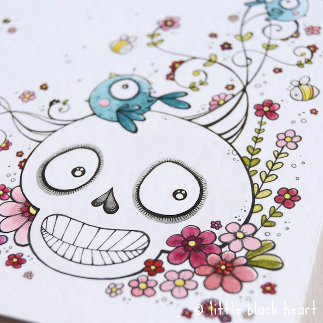 swirly skull, bluebirds and bees - original illustration (A6)