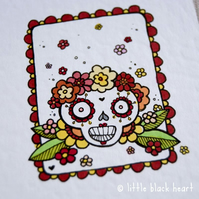 little lady skull - original aceo