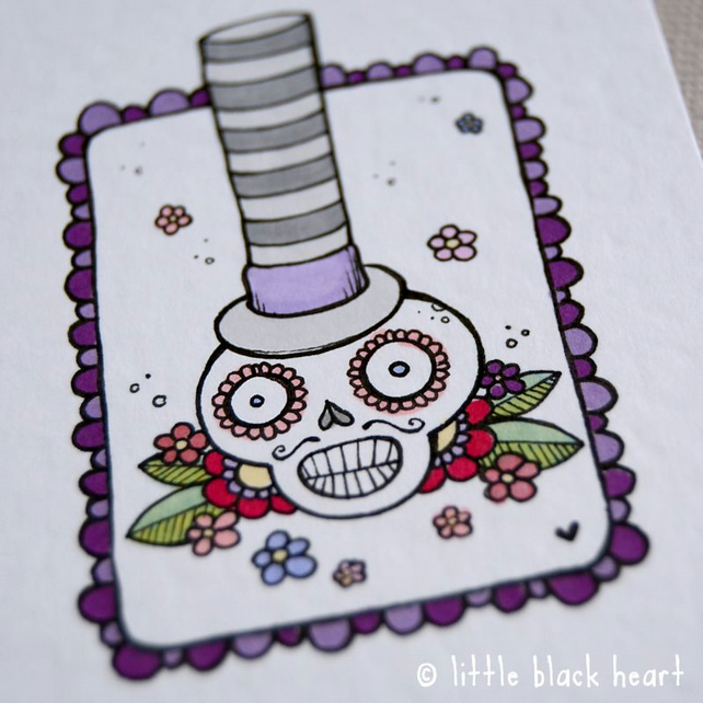 skull chap in a stripey hat - original aceo