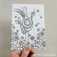colour your own print - top hat bird (A6)